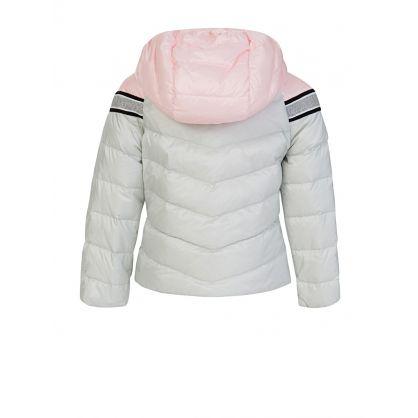 White/Pink Stripe Puffer Marika Jacket