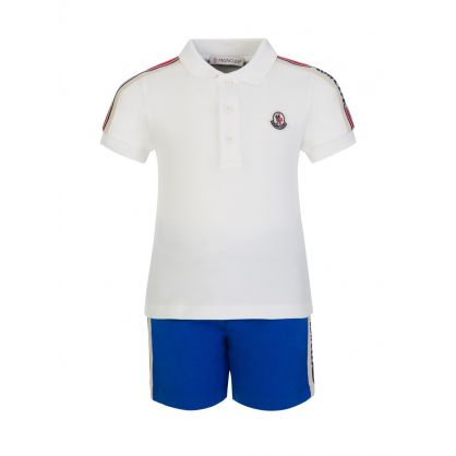 White/Blue Polo & Shorts Set