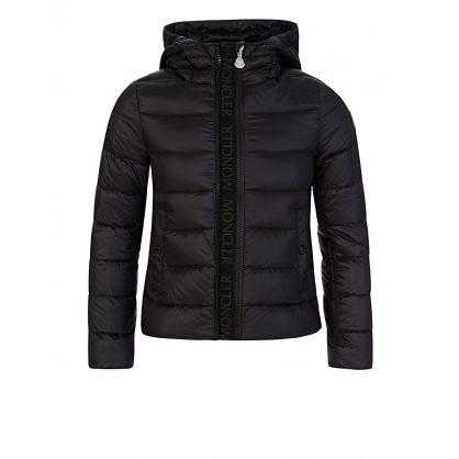Black Logo Zip Puffer Jacket