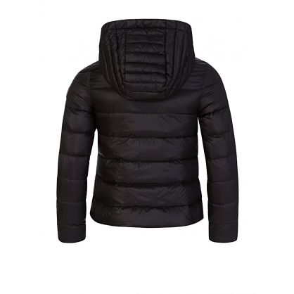 Black Logo Zip Puffa Jacket