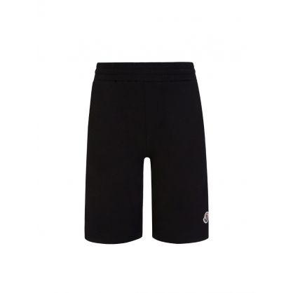 Black Cotton Logo Shorts
