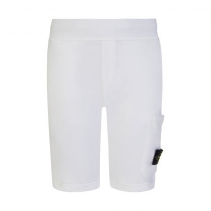 Junior White Pocket Sweat Shorts