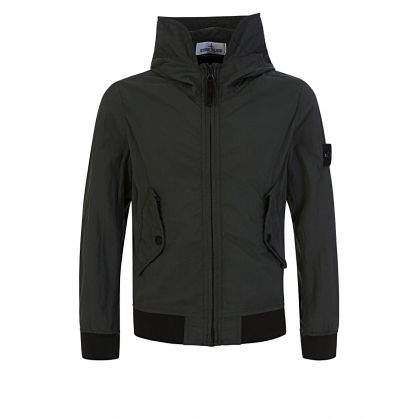 Junior Green Nylon Hooded Jacket