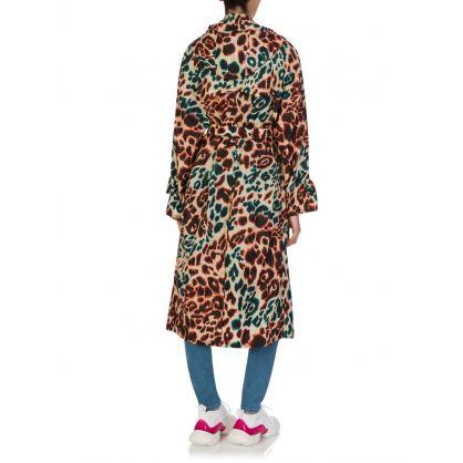 Beige Leopard Print Trench Coat