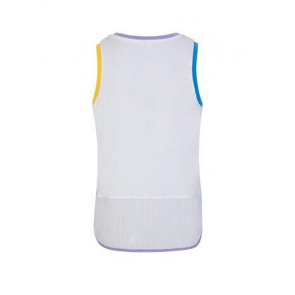 White Logo Print Sports Vest