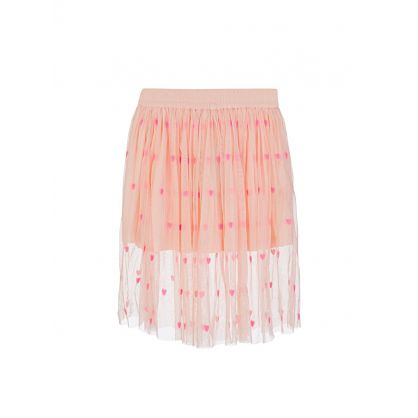 Pink Hearts Embroidery Tulle Skirt