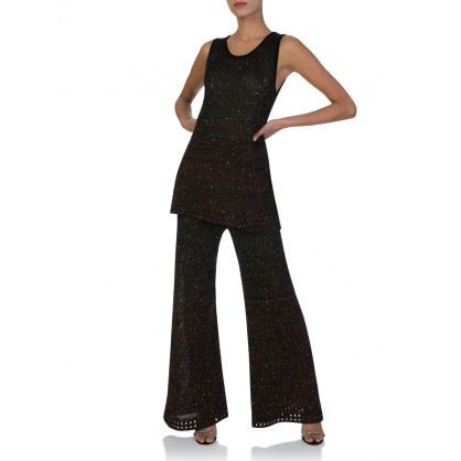 Black Sequin Palazzo Trousers