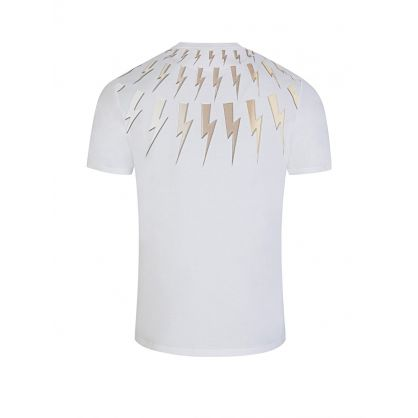 White Gold Thunderbolts Print T-Shirt