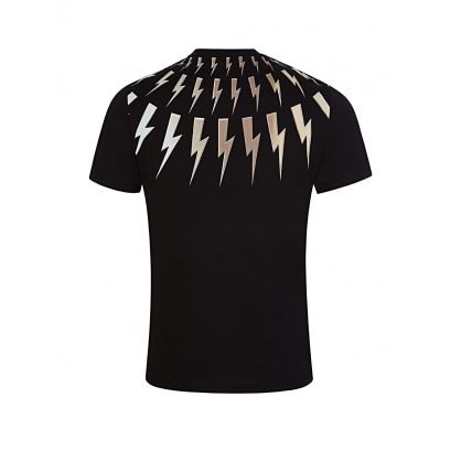 Black Gold Thunderbolts Print T-Shirt