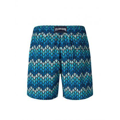 Blue Herringbones Turtles Swim Shorts