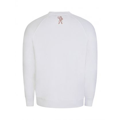 White Embroidered Logo Sweatshirt