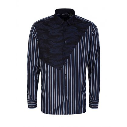 Navy Camouflage Print Striped Shirt