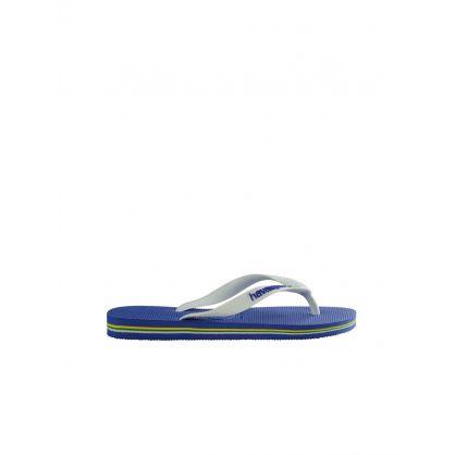 Blue Brazil Logo Flip Flops