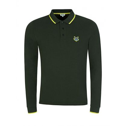 Khaki Tipped Collar Long Sleeve Polo Shirt