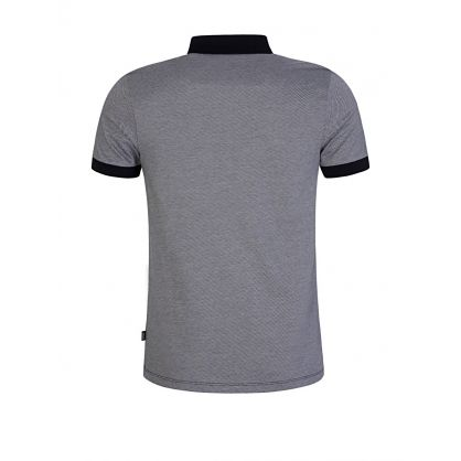 Navy Slim Fit Micro-Patterned Polo Shirt