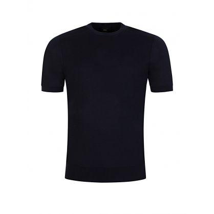Navy Pure Silk Short Sleeve Sweatshirt