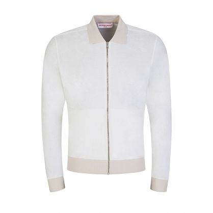 Cream Brendon Towelling Zip-Through Sweatshirt