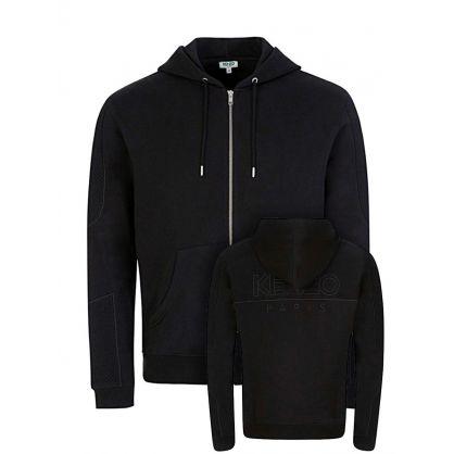 Black Mesh Hooded Zip-Through Jacket