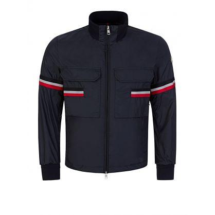 Navy Seine Stripe Windbreaker Jacket