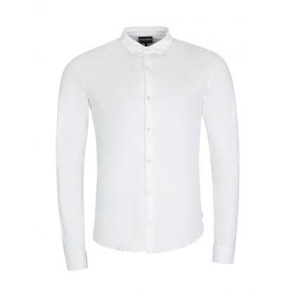 White Slim-Fit Cotton Jersey Shirt