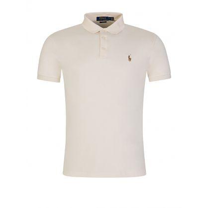 Cream Slim Fit Pima Cotton Polo Shirt