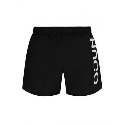 Black Quick-Dry Reversed Logo Swim Shorts