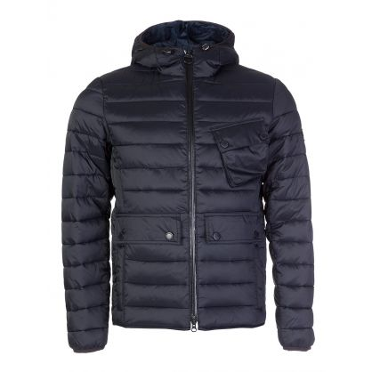 Navy Quilted Ouston Hooded Jacket