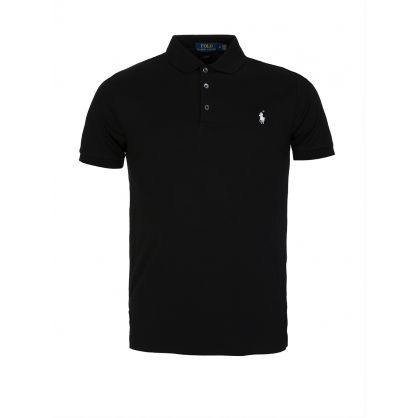 Black Slim Fit Stretch Mesh Polo