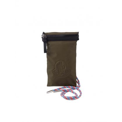 Green Leather/Rubber Shell Phone Pouch