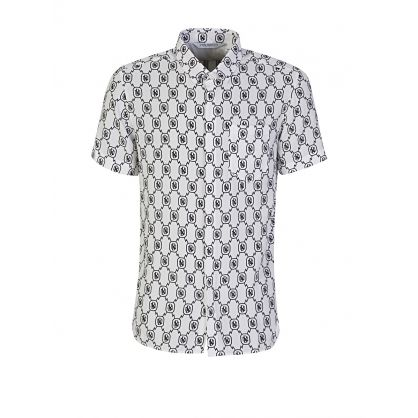 White All-Over Monogram Tencel Shirt