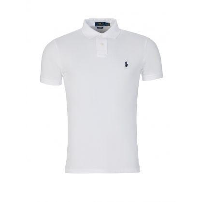 White Slim Fit Mesh Polo Shirt