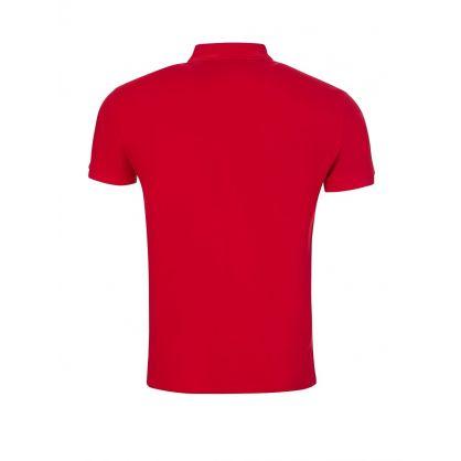 Red Slim Fit Mesh Polo Shirt