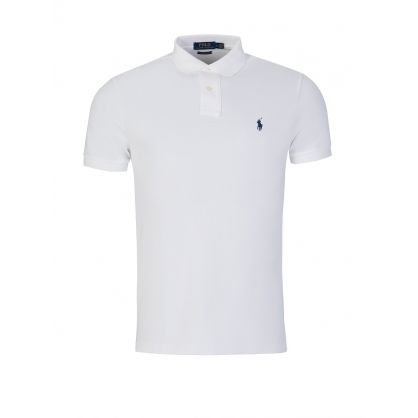 White Custom Slim Fit Mesh Polo