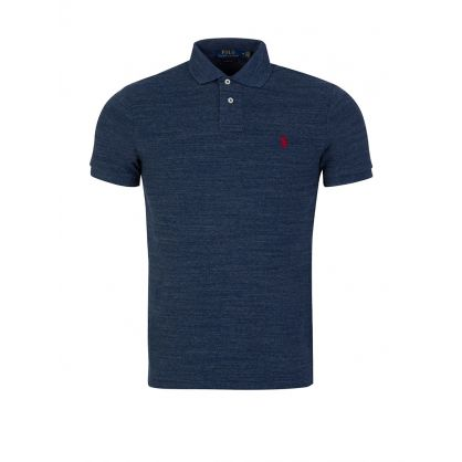 Blue Custom Slim-Fit Mesh Polo Shirt