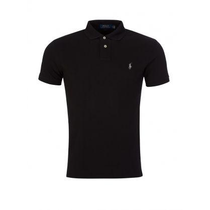 Black Slim Fit Mesh Polo Shirt