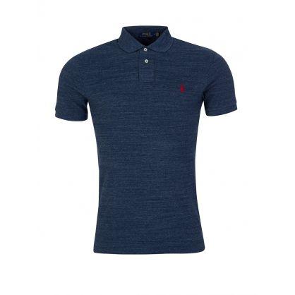 Blue Slim Fit Mesh Polo Shirt