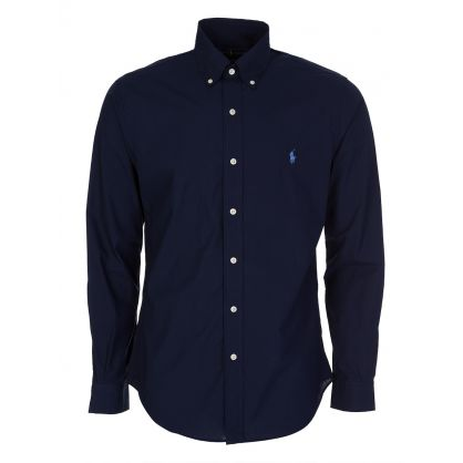 Navy Slim Fit Stretch Poplin Shirt