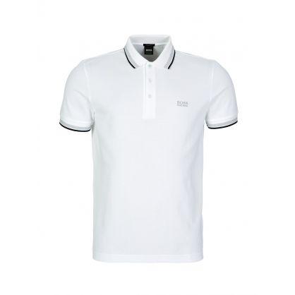 White Stripe Detail Polo Shirt