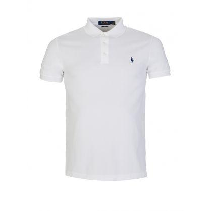 White Slim Fit Stretch Mesh Polo