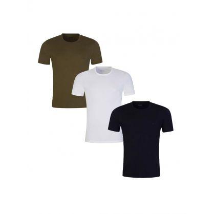 White/Navy/Green T-Shirt 3-Pack