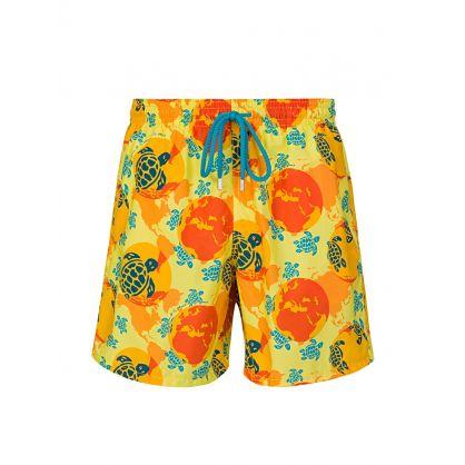 Yellow 'Worldmap Dots' Swim Shorts