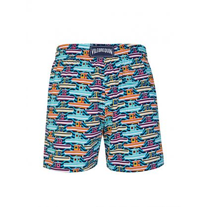 Blue Mykonos Sailboat Swim Shorts