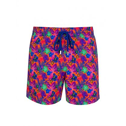 Orange Floral Swim Shorts