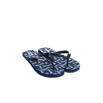 Navy  Labels Flip Flops