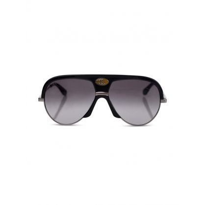 Black Aviator Thick Rim Sunglasses
