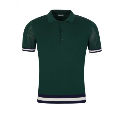 Green Knit Tipped Polo Shirt