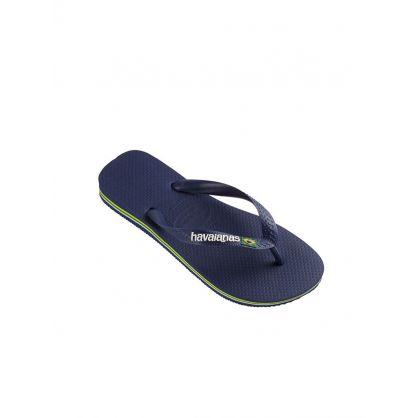 Navy Brazil Logo Flip Flops