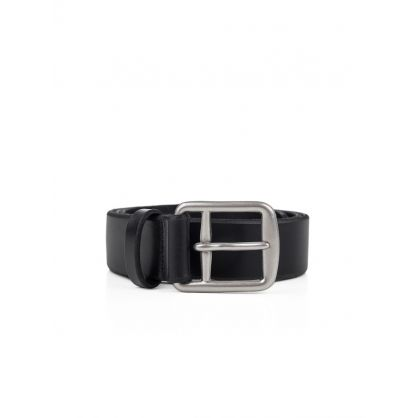 Black Saddle Leather Dress Belt