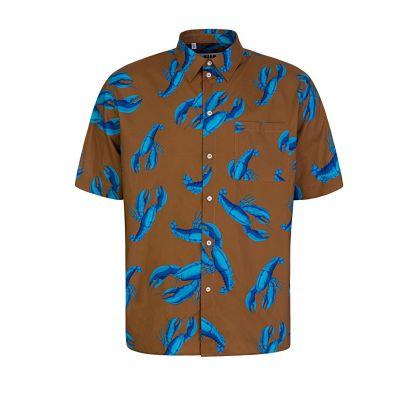 Brown Short-Sleeve Lobster Print Shirt
