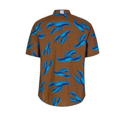 Brown Short-Sleeve Lobster Print Shirt